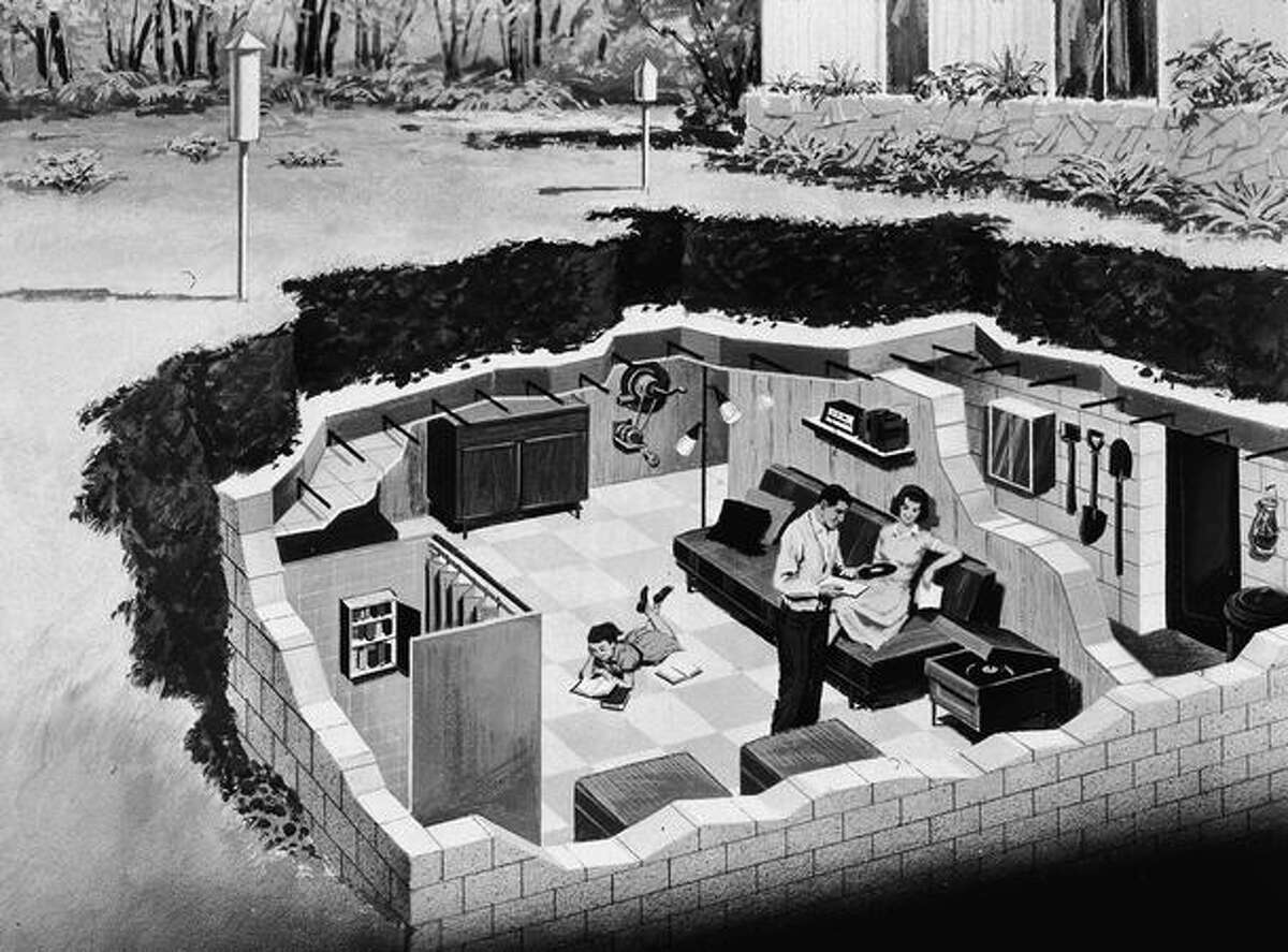 Illustration depicting a family in their backyard, underground bomb shelter, early 1960s.