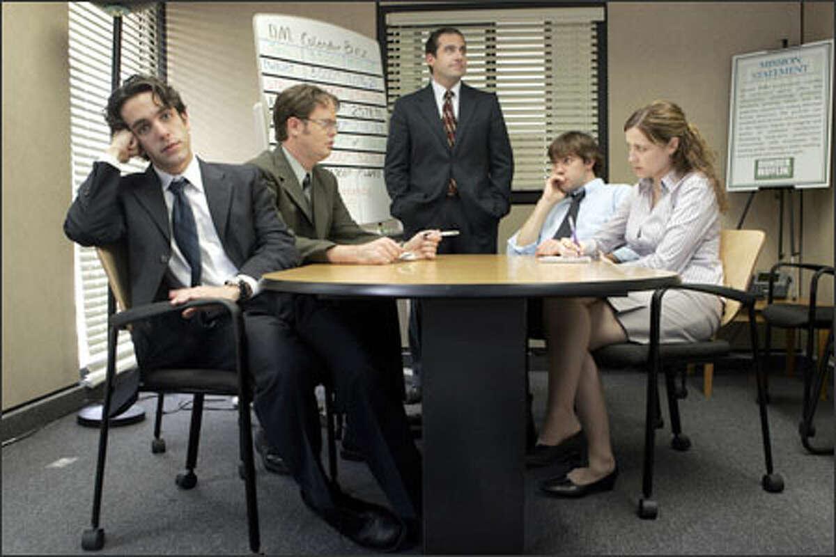 """""""The Office"""" previews tonight at 9:30 on KING / 5 with, from left, B.J. Novak as Ryan Howard, Rainn Wilson as Dwight Schrute, Steve Carell as Michael Scott, John Krasinski as Jim Halpert and Jenna Fischer as Pam Beesly."""