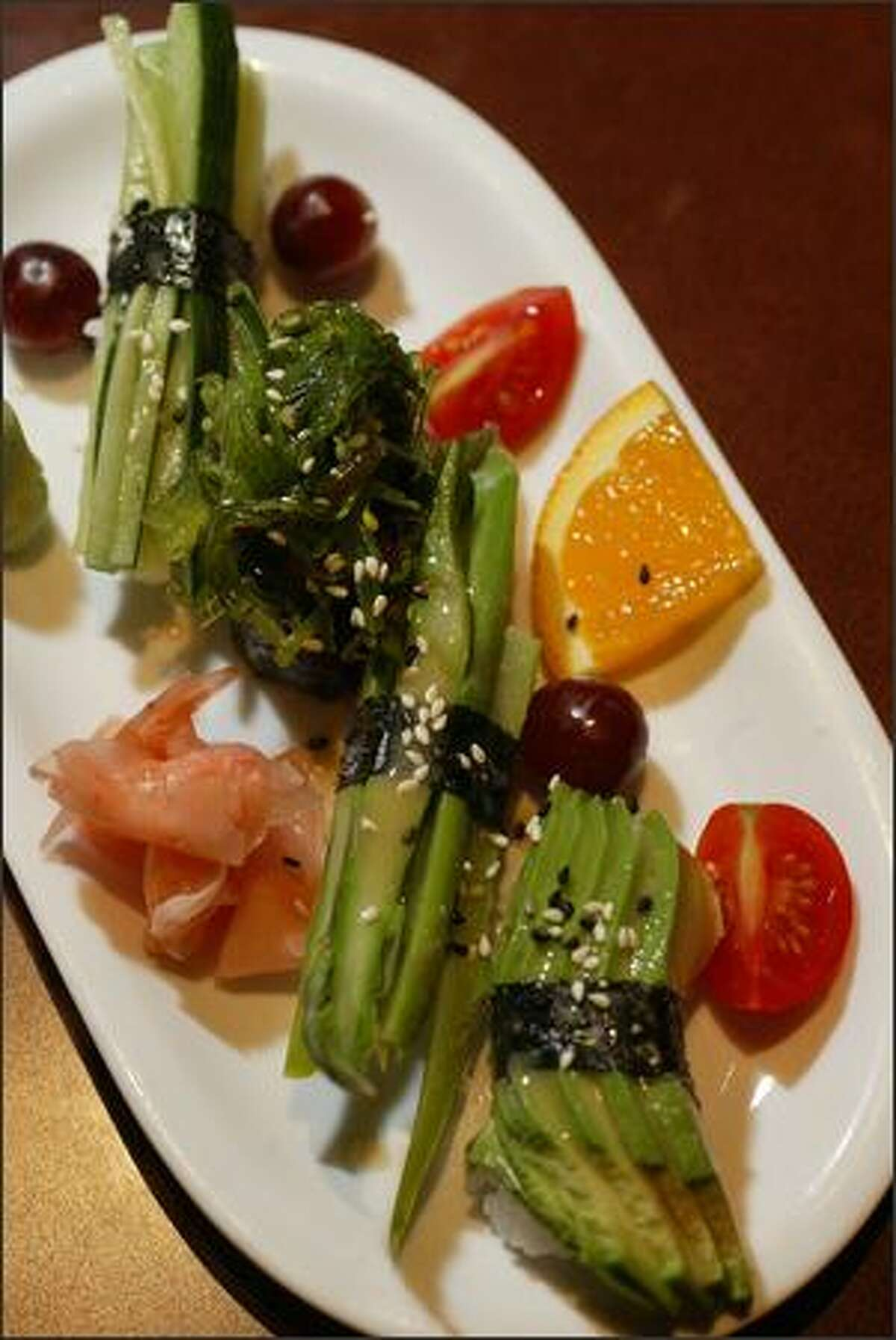 Bonzai Pub and Bistro offers a Veggie Nigiri sushi plate for $4 during happy hour. The dish includes seaweed, asparagus, avocado and cucumber.