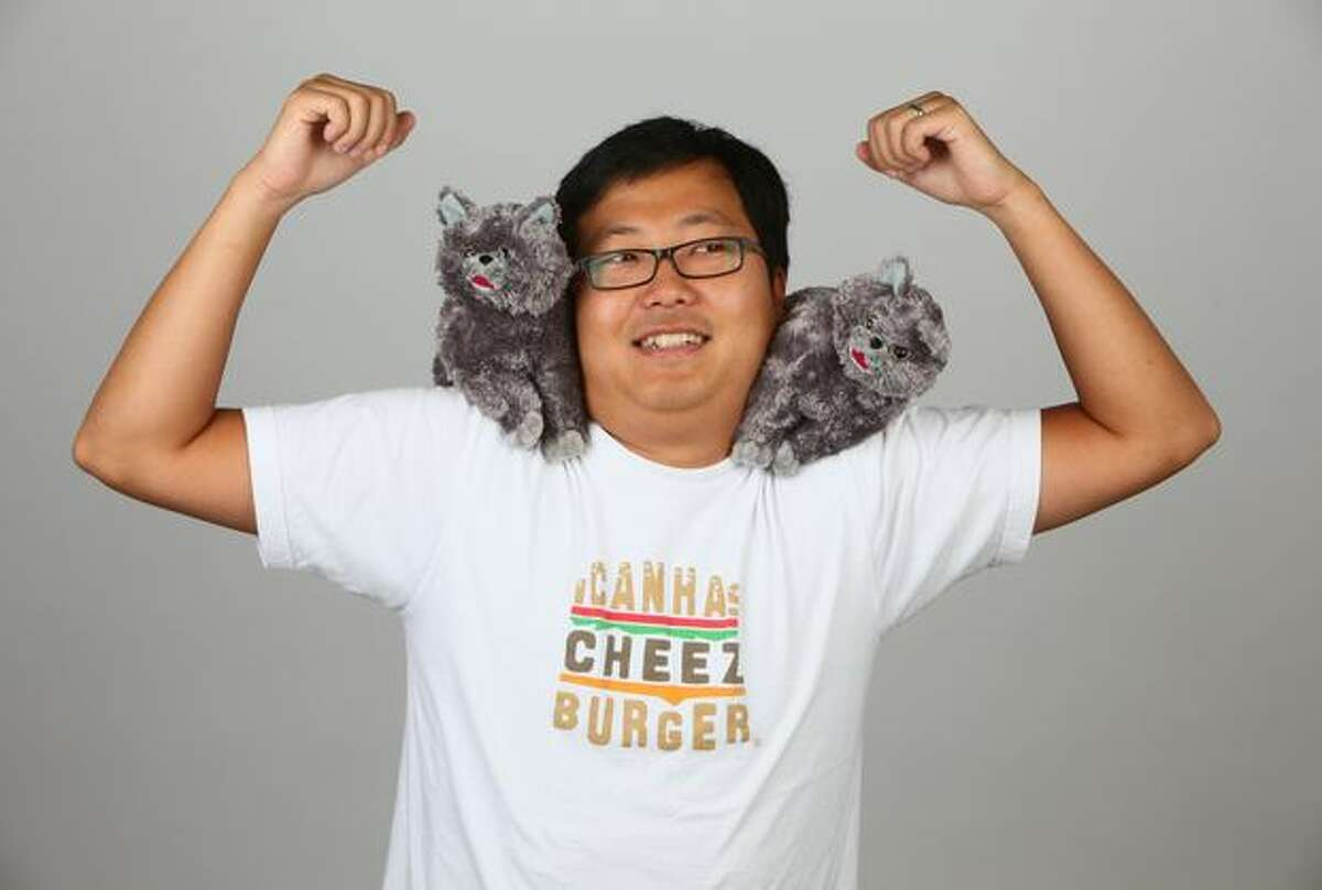 Ben Huh, CEO of the Cheezburger Network, mugs for seattlepi.com in 2009.