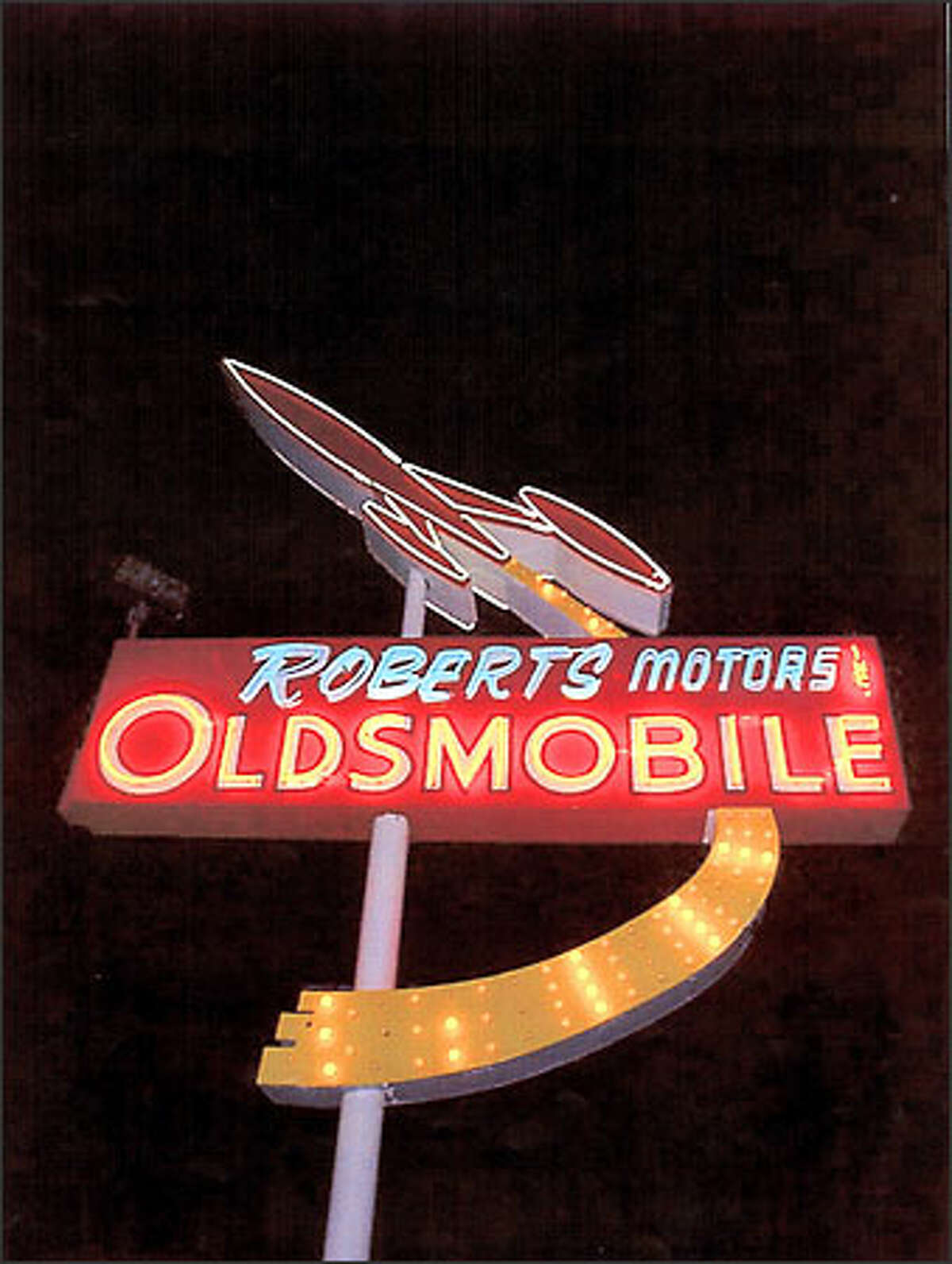 The Roberts Oldsmobile sign in Auburn.