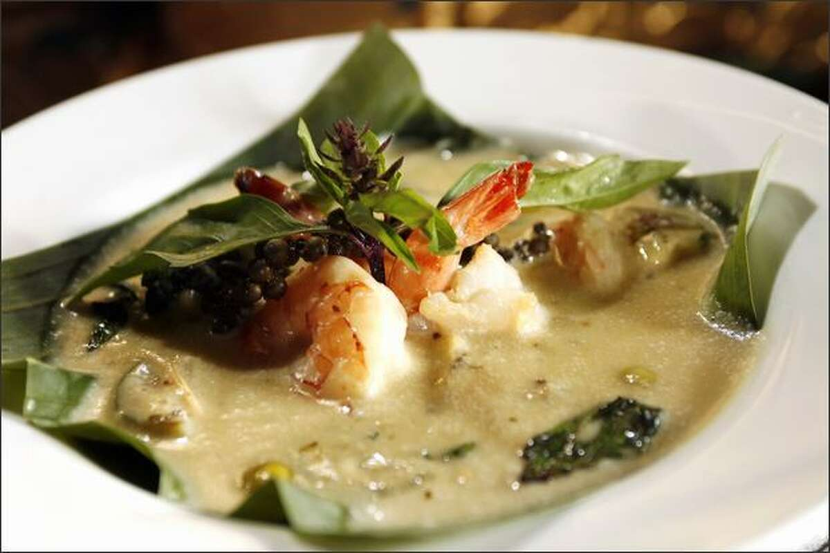 Kaeng Khiao Wann, above, is shrimp with green curry, Thai chiles, Thai eggplant, coconut cream and peppercorns.