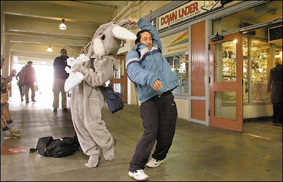 Dance, Rabbit, dance: That's me, hopping to some Latin tunes at Pike Place Market with a friendly fellow. I don't think he recognized me, but that's OK; I don't want any special treatment.