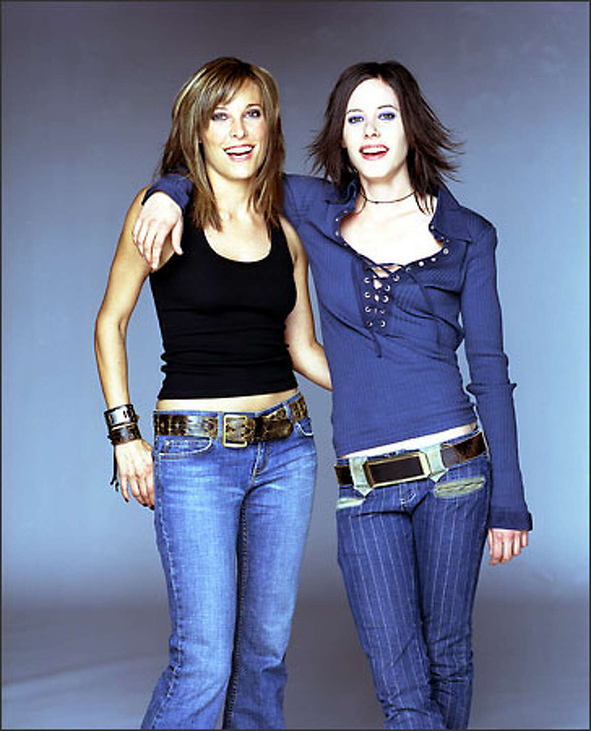 """""""The L Word's"""" Erin Daniels as Dana and Katherine Moennig as Shane: slim tops and just-right pants."""
