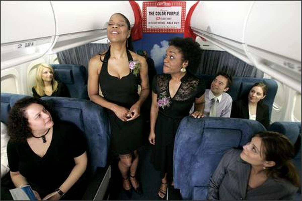 """Just when you thought the skies were safe from musical theater, think again. In a one-time (?) promotion of their new non-stop service to New York, AirTran Airways serenaded passengers on a flight from Chicago to Newark (close enough to NYC) with songs from """"The Color Purple"""" sung by the Broadway cast."""