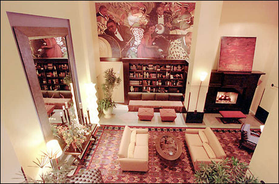 The Dawson Design refurbishing of Seattle's University Tower hotel features murals by Bainbridge artist Lara Cannon that reflect nightclub scenes from the 1920s era in which the hotel opened. Color patterns are prominent in the lobby, which was envisioned as a neighborhood gathering place. Photo: Phil H. Webber, Seattle Post-Intelligencer / Seattle Post-Intelligencer