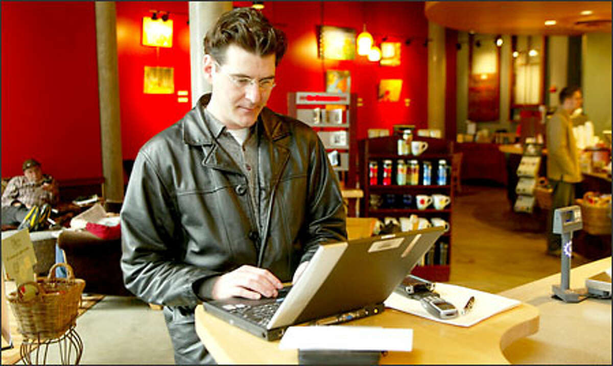 New wireless technology allows associate real-estate broker Edward Krigsman to go to the Belltown Starbucks without giving up his Internet access.