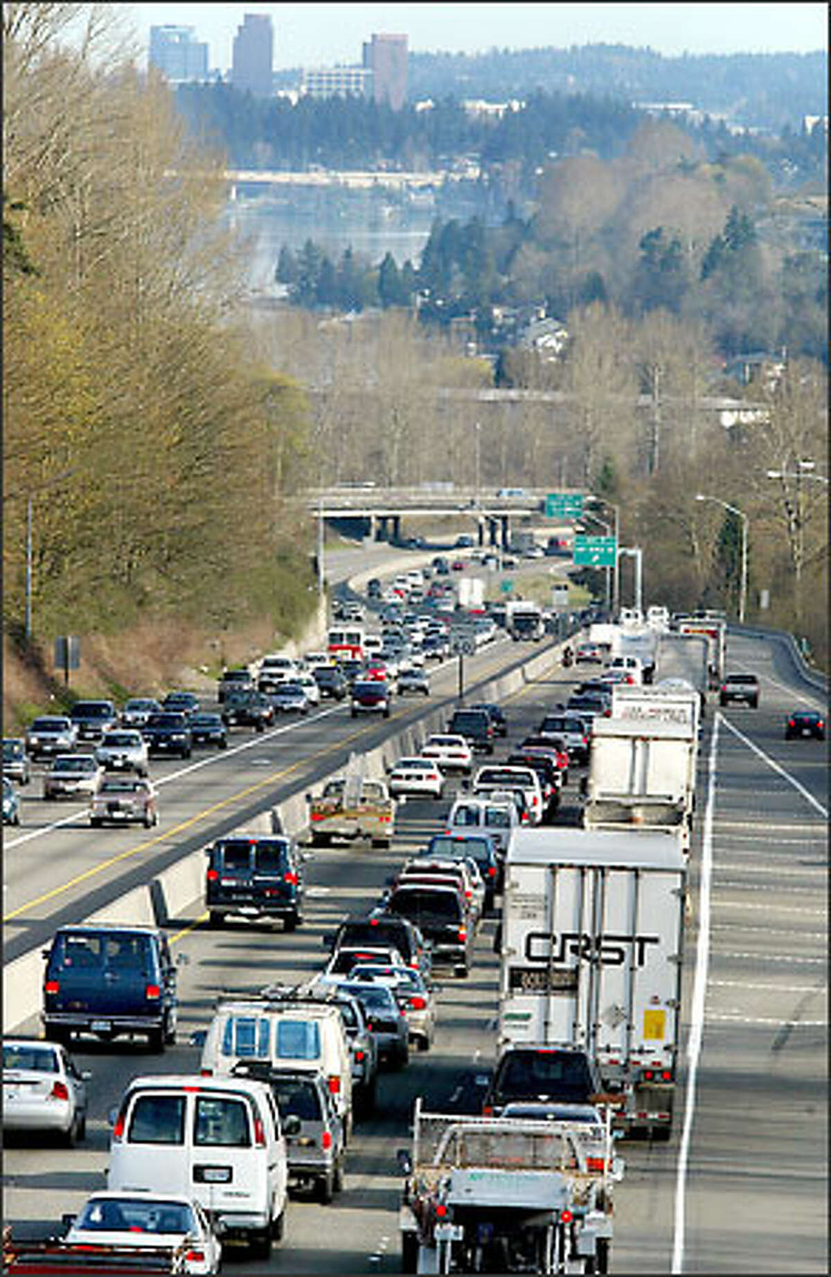 An all-too-familiar view for Eastside drivers is traffic backed up on Interstate 405, here heading northbound.