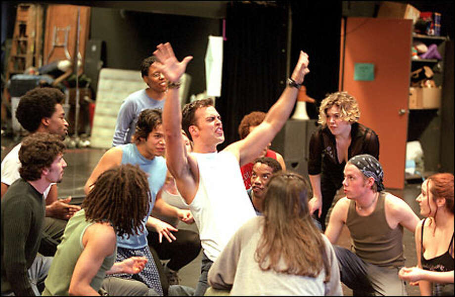 """The cast of """"Hair"""" rehearses at the Seattle Center. The show runs from May 30 to June 23 in Seattle before moving on to New York. Photo: Phil H. Webber, Seattle Post-Intelligencer / Seattle Post-Intelligencer"""
