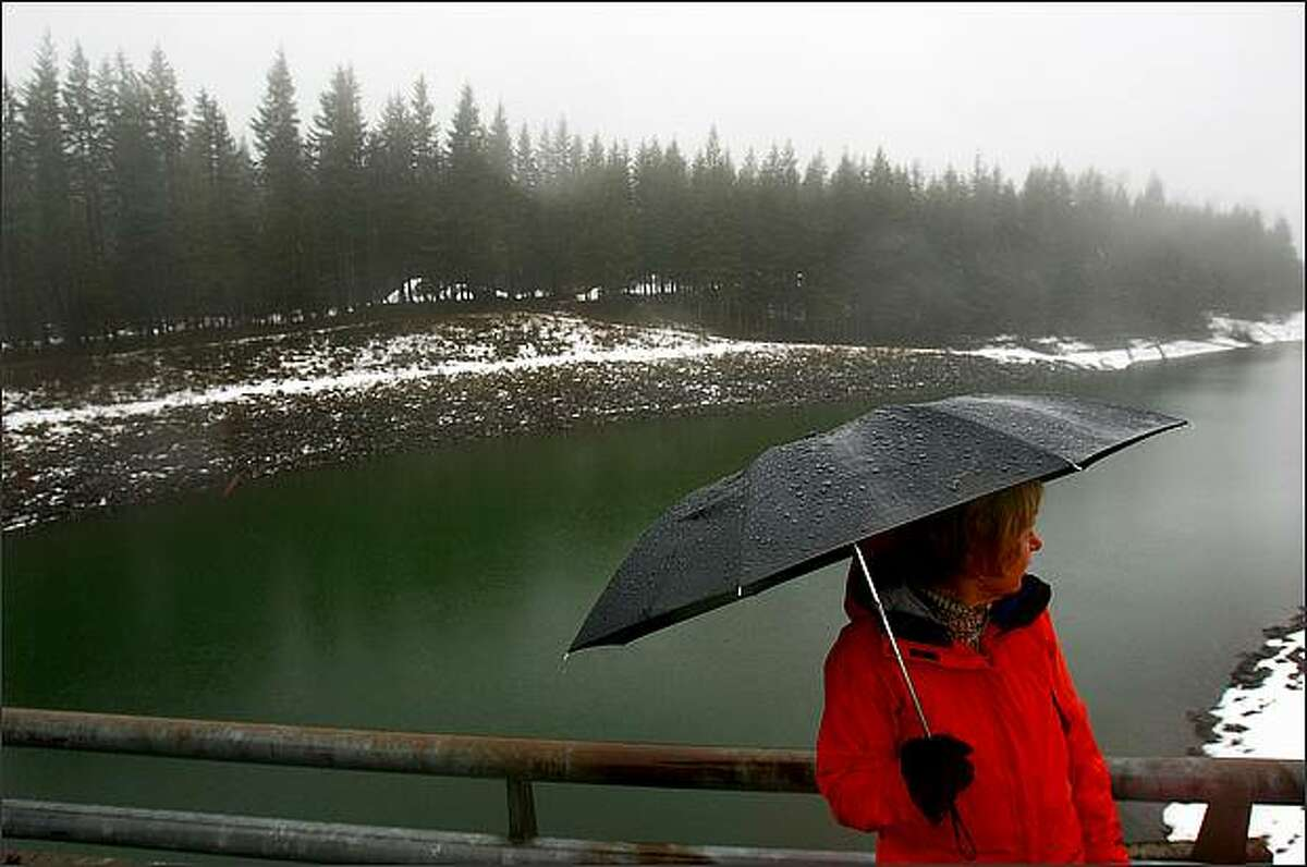 While standing in a pouring rain, Suzanne Hartman, director of communications and public affairs for Seattle City Light, looks back over Chester Morse Lake from atop the Cedar River Dam in the Cedar River Watershed. A press conference was held atop the dam to discuss water levels and how the levels will affect Seattle utility customers.