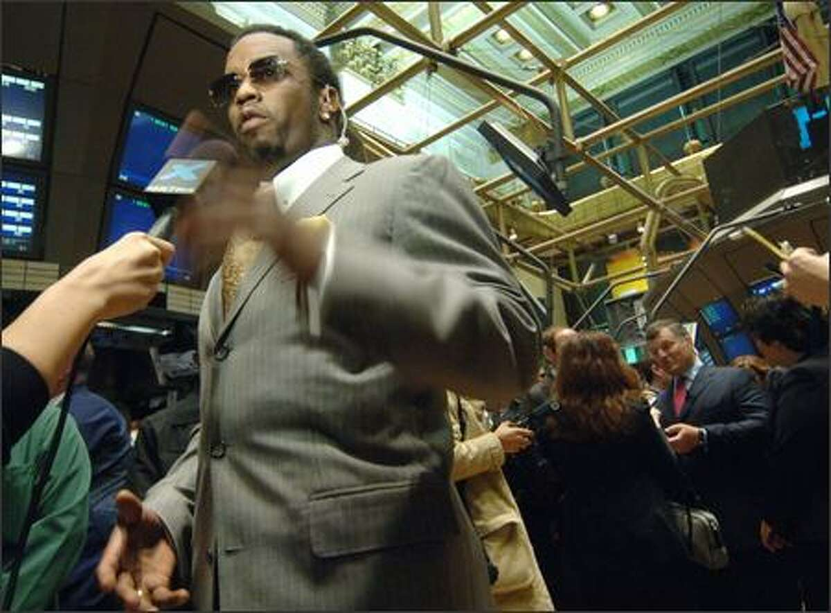 Diddy: Powerful perfumer, but not punctual. Megamogul Sean Combs was scheduled to ring the 9:30 a.m. bell at the New York Stock Exchange Monday but got stuck in traffic. Diddy was on the floor promoting the sales of