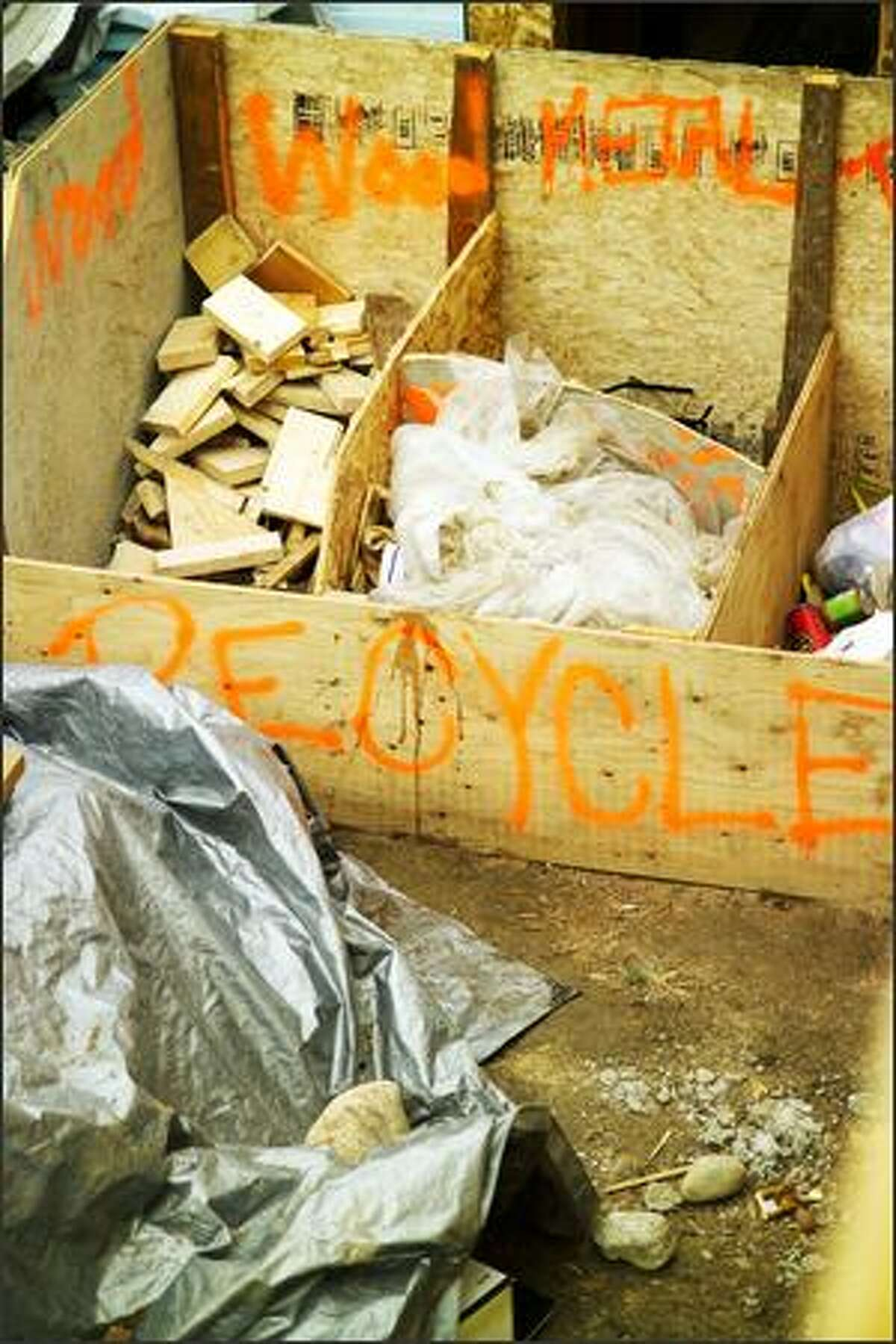 All unused materials and scrap go into the recycling bin, not the trash.