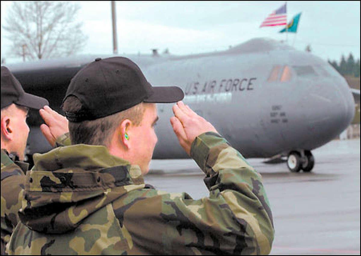 McChord Air Force Base in Tacoma bids farewell to its last C-141B Starlifter yesterday. The base has switched to Boeing-built four-engine, C-17 Globemaster transports, the future for the Air Force's air-mobility mission.
