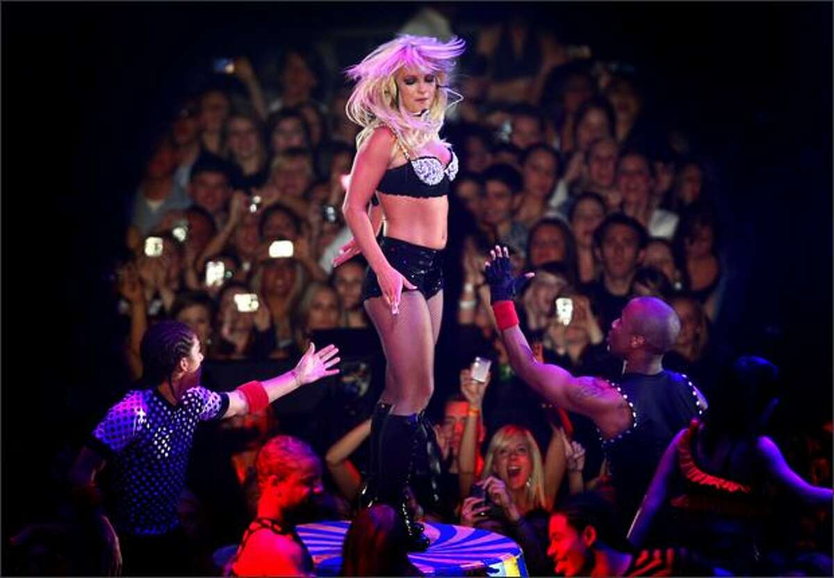 Britney Spears performs during her Circus tour on Thursday at the Tacoma Dome.