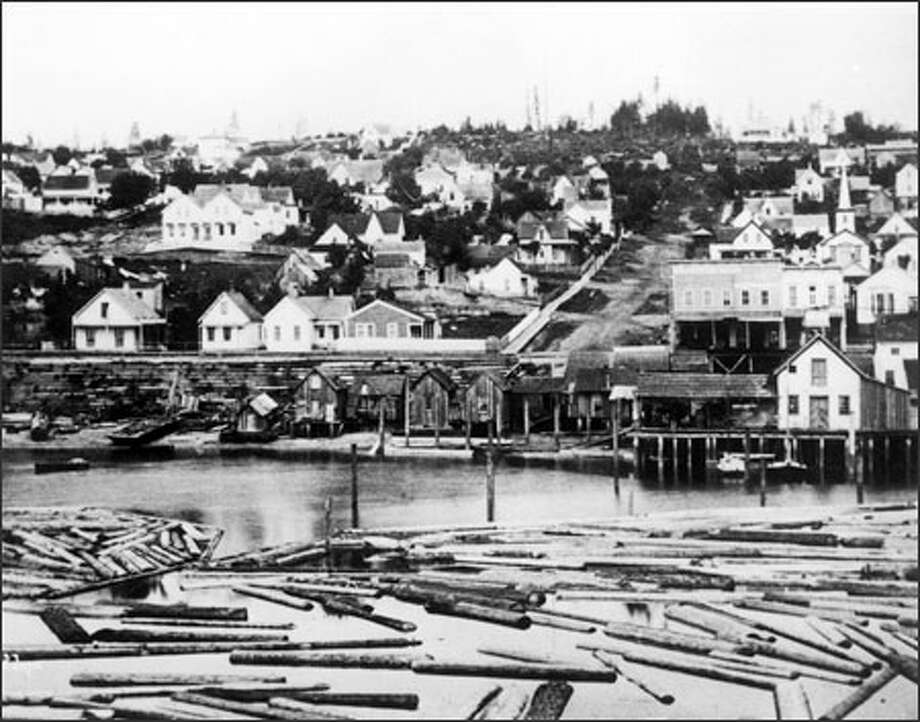 The view from Yesler's Wharf, photographed circa 1878.