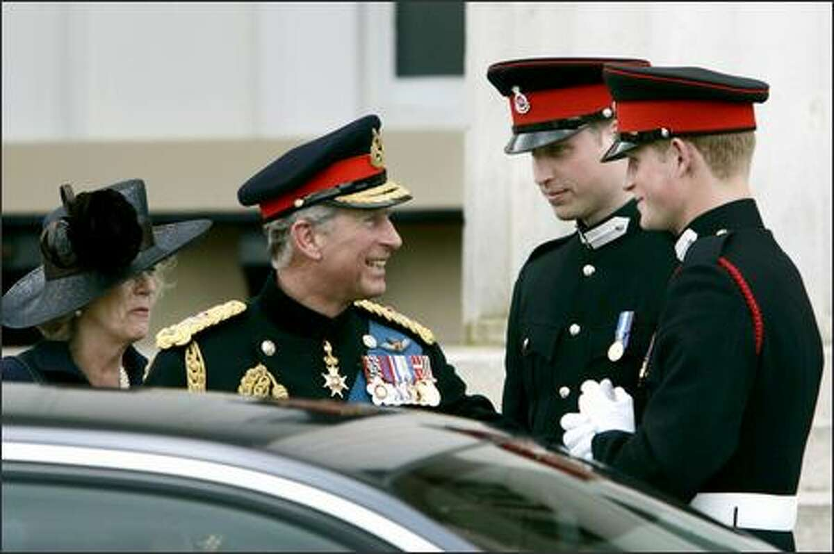 Harry's in the army now. Prince Harry, that is. The recently commissioned youngest son of Princess Di, far right, smiles at proud papa Prince Charles and stepmom Camilla, alongside brother Prince William. All you need is prince, and it'd be a real par-tay, but the Royal Military Academy at Sandhurst may not be down with that.