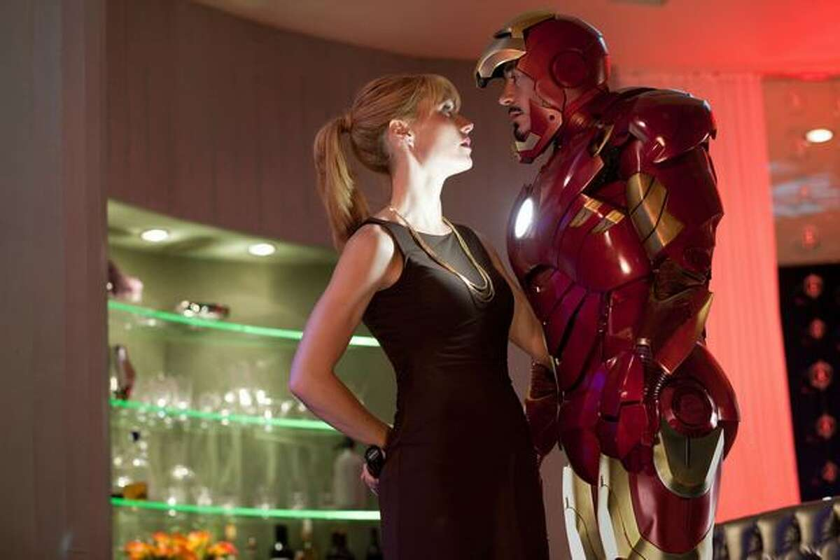 Gwyneth Paltrow (left) stars as Pepper Potts and Robert Downey Jr. (right) stars as billionaire industrialist Tony Stark, aka Iron Man, in