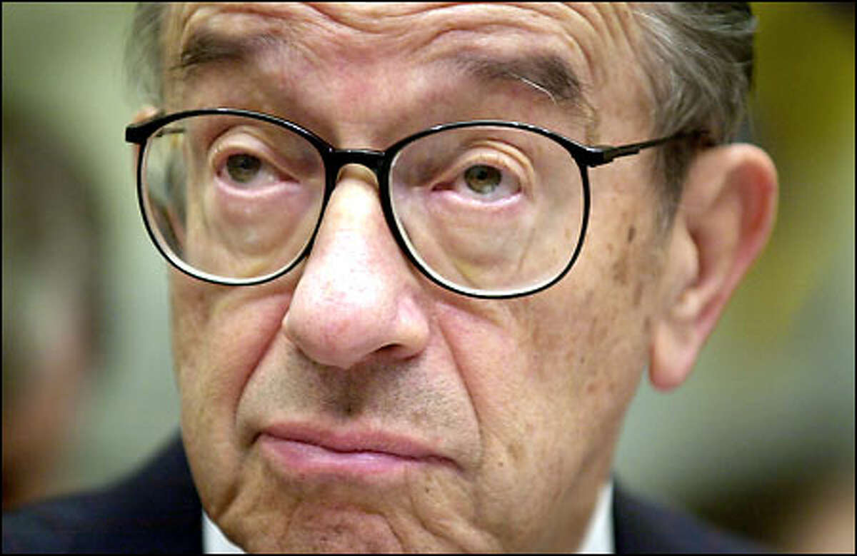 Federal Reserve Board Chairman Alan Greenspan appears before the Joint Eco- nomic Committee. He indicated yesterday that the Fed is inclined to hold interest rates at current, 40-year lows.