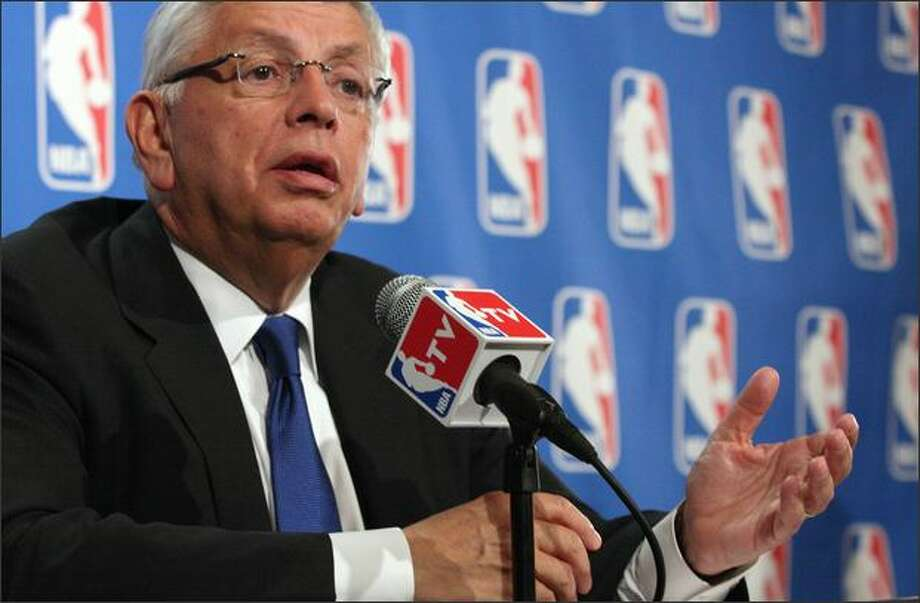 NBA Commissioner David Stern gestures as he speaks during a press conference following a meeting of the NBA Board of Governors, Friday, in New York. At the meeting, the NBA Board of Governors approved the SuperSonics' request to move from Seattle to Oklahoma City subject to a resolution of pending litigation between the Sonics and the city of Seattle. Photo: Associated Press / Associated Press