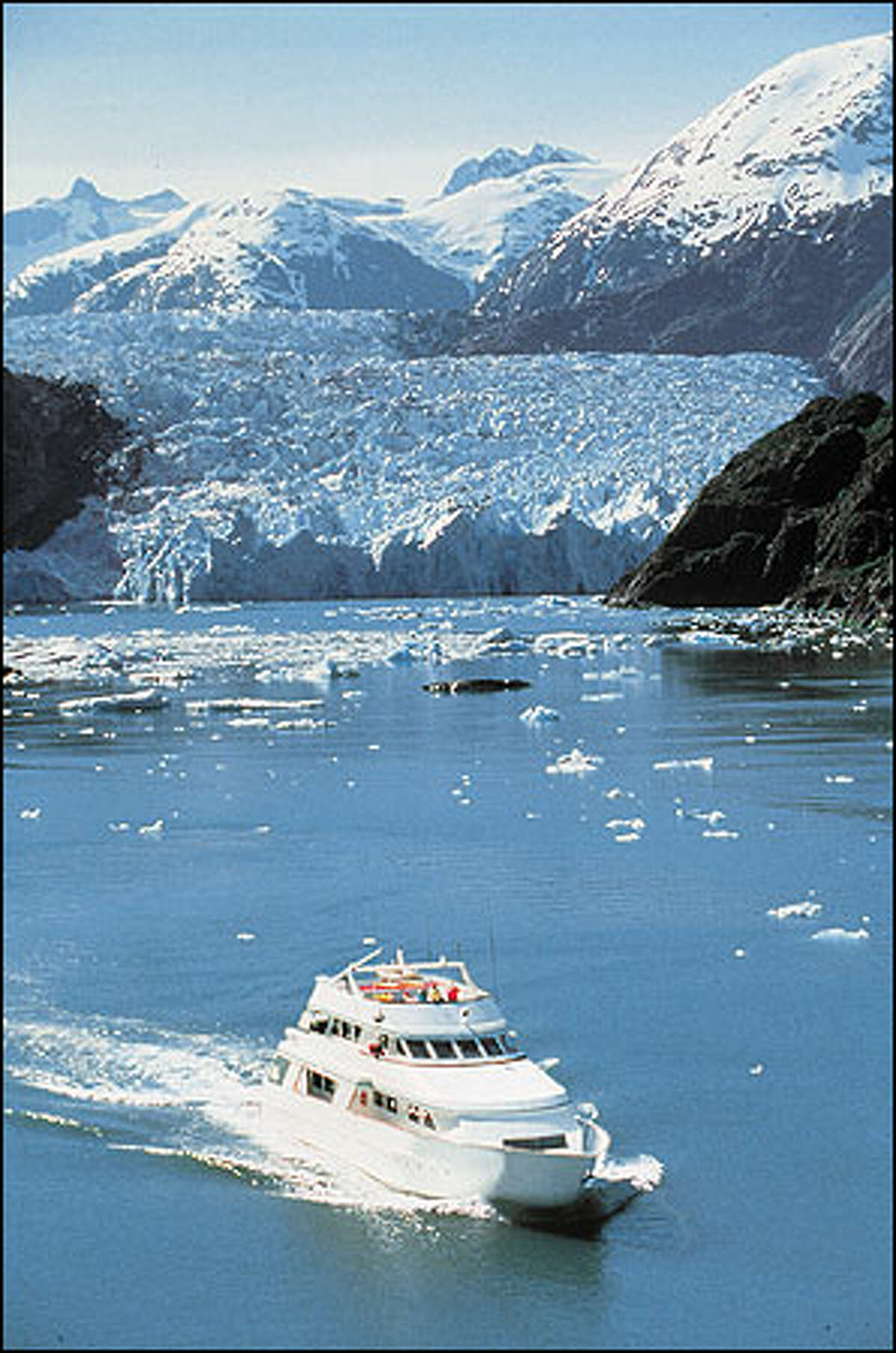 Safari Quest under way in Tracy Arm, Alaska. American Safari Cruises photo.