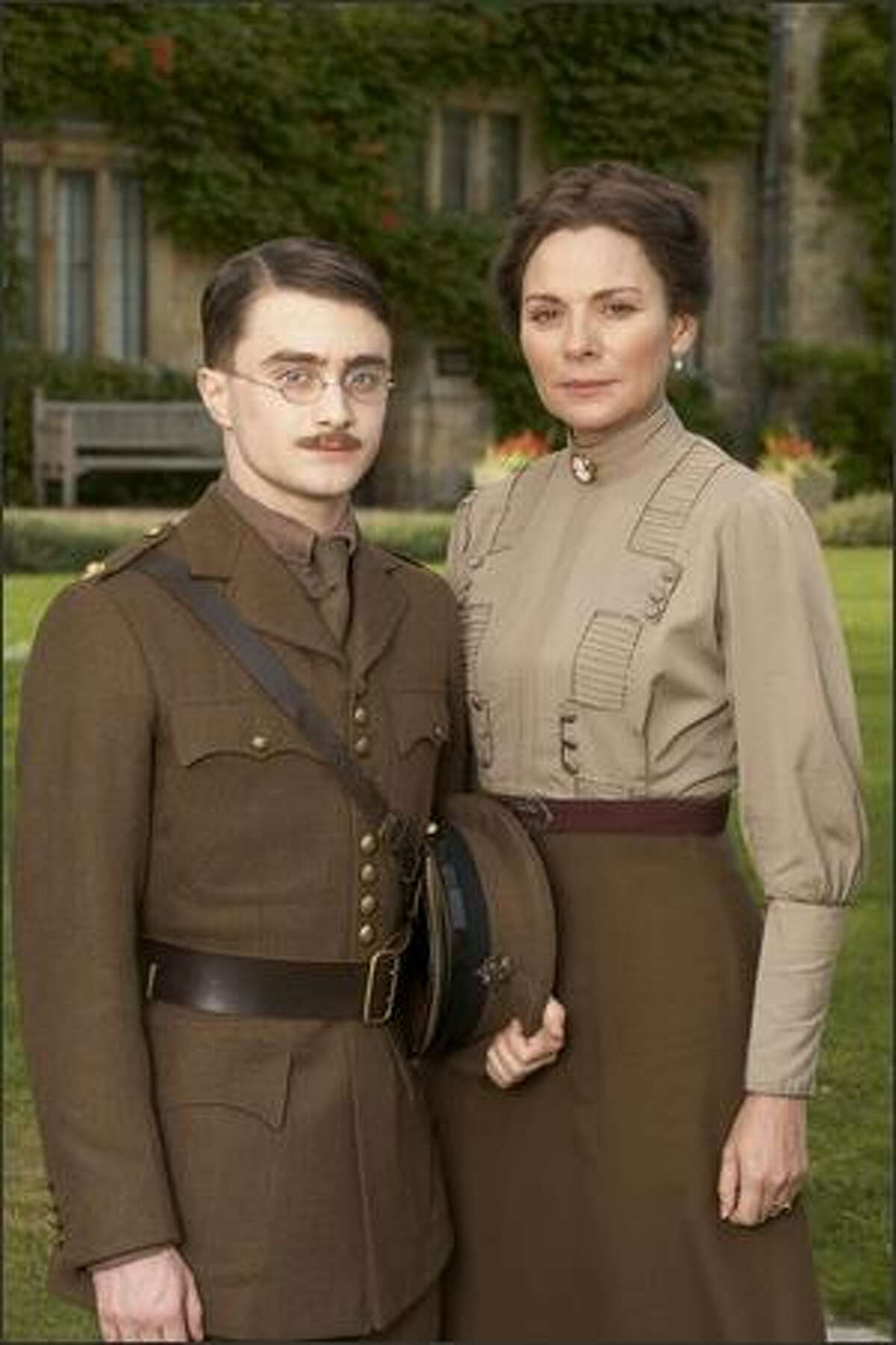 Kim Cattrall, right, plays Carrie, the wife of Rudyard Kipling and (Daniel Radcliffe) plays Jack, their son, in