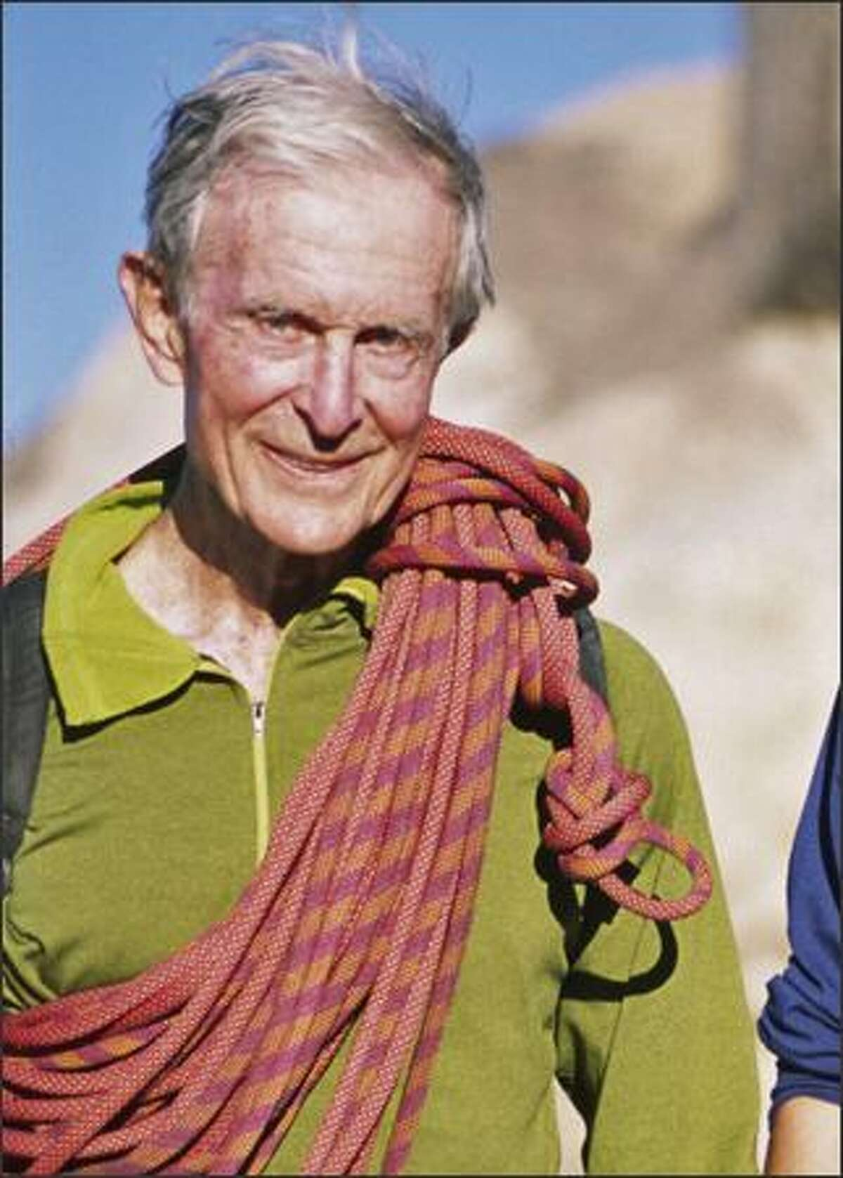 Stimson Bullitt, 83 at the time, climbs a tough Illusion Dweller route in Joshua Tree National Park in November 2002. During COVID-19 pandemic, climbers are advised to go for less risky challenges.