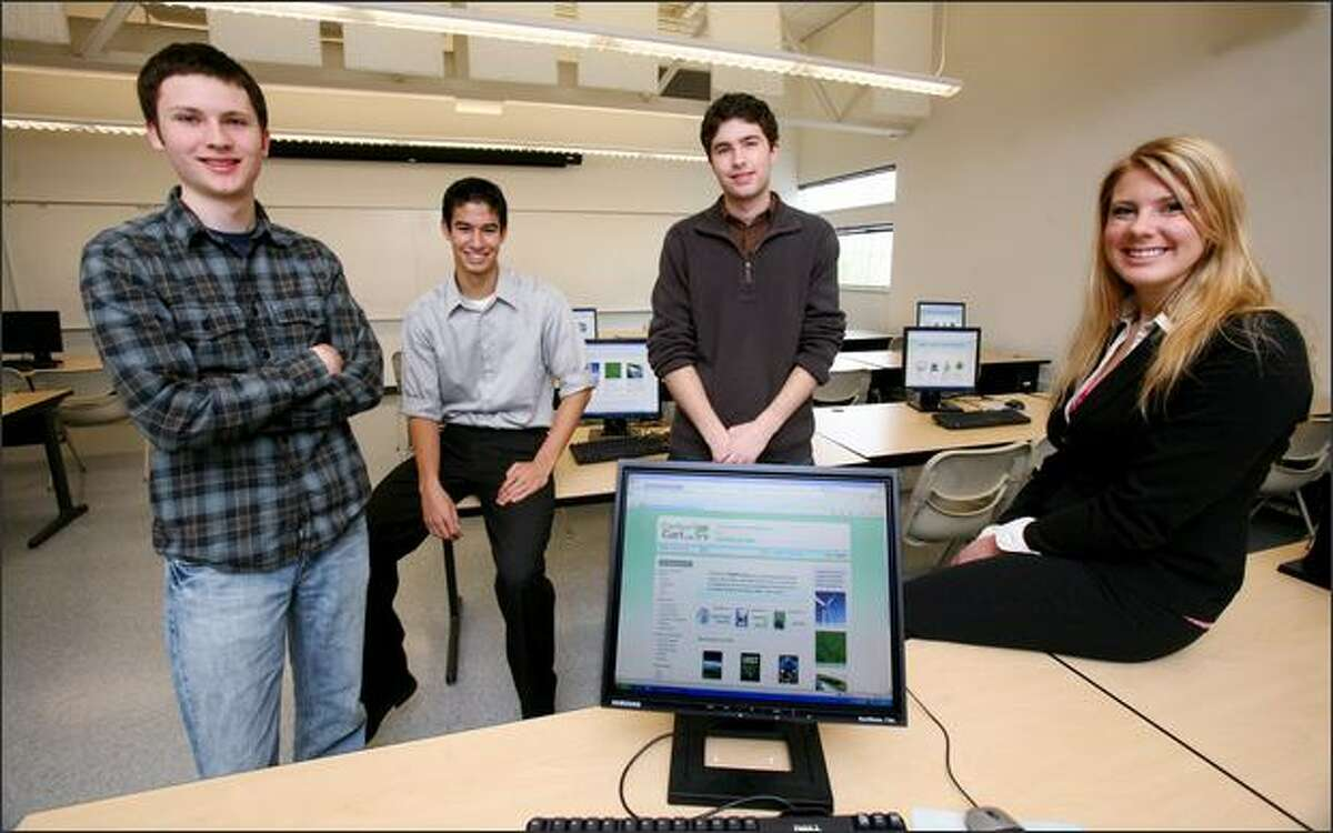 SPU students, from left to right, Reed Probus, Kevin McFarland, Ryan Tilton and Laura Hanes have developed CarbonCart.org, a finalist in Microsoft's Imagine Cup contest.