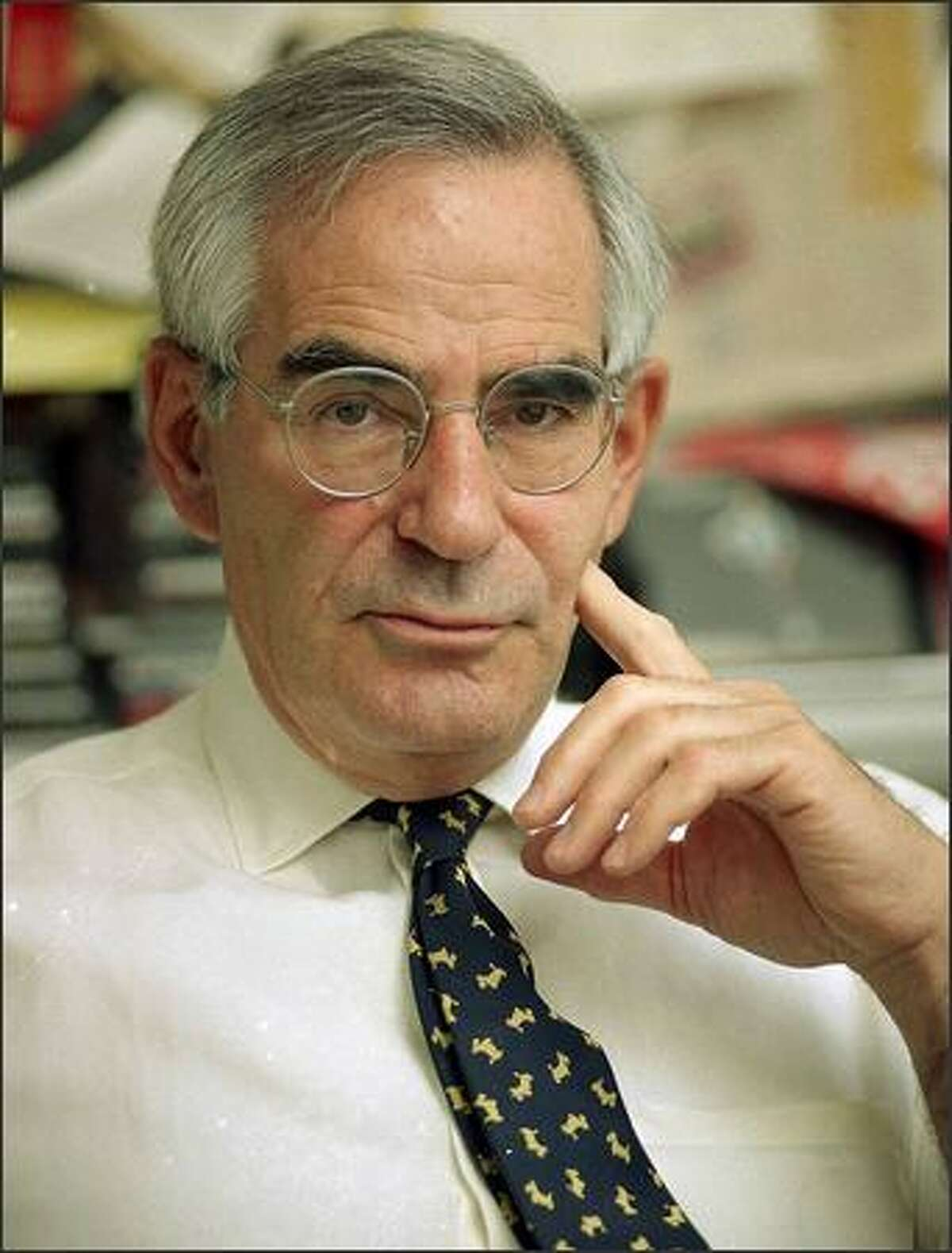 Journalist and author David Halberstam is shown in his Manhattan office in this May 14, 1993 file photo. Halberstam, a Pulitzer Prize-winning author who chronicled the Washington press corps, the Vietnam War generation and baseball, was killed in a car crash early Monday. He was 73.