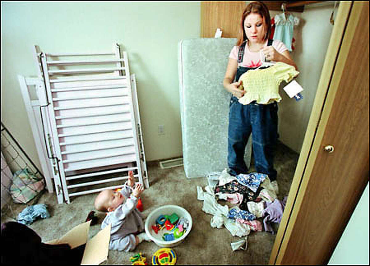 Melody LaPlante, 20, and her daughter, Aaliyah, move into an apartment in Richland. LaPlante says she was forced by a male employee to have sex with him when she was 17 and a student at the Washington School for the Deaf.