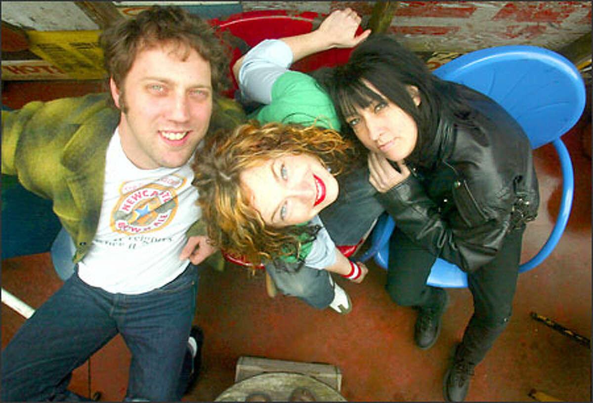 Seattle rock trio Visqueen. from left, Ben Hooker, Rachel Flotard and Kim Warnick at Linda's Tavern at 707 E. Pine St.