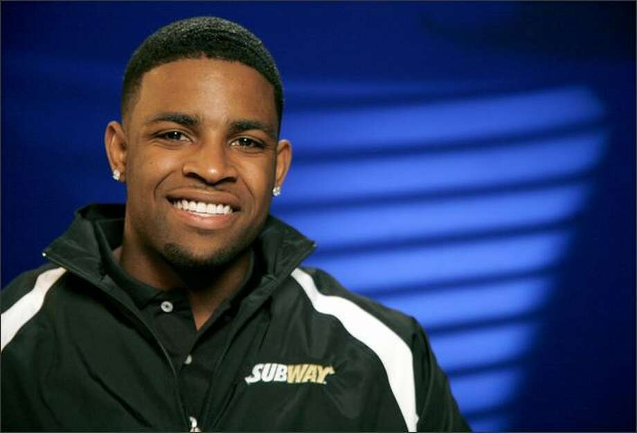Michael Crabtree, a wide receiver from Texas Tech, speaks before an interview at the Associated Press on Tuesday, April 21 2009, in New York. Crabtree dominated college football like few receivers have in two seasons at Texas Tech, scoring more than a touchdown per game. He seemed a lock to be a top-five NFL draft pick until a foot injury interrupted his preparation. (AP Photo/Peter Morgan) Photo: Associated Press / Associated Press