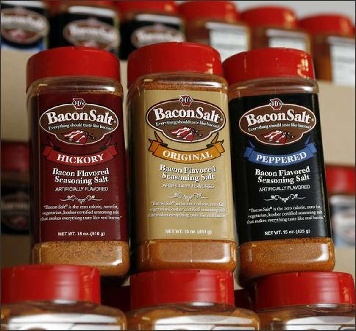 The three flavors of Bacon Salt have a devoted following worldwide. The kosher product is especially popular among American troops in the Middle East.