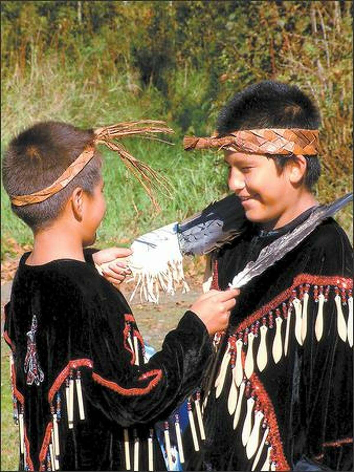 Children get ready to perform for a Sasquatch wildlife/culture tour near Chehalis.