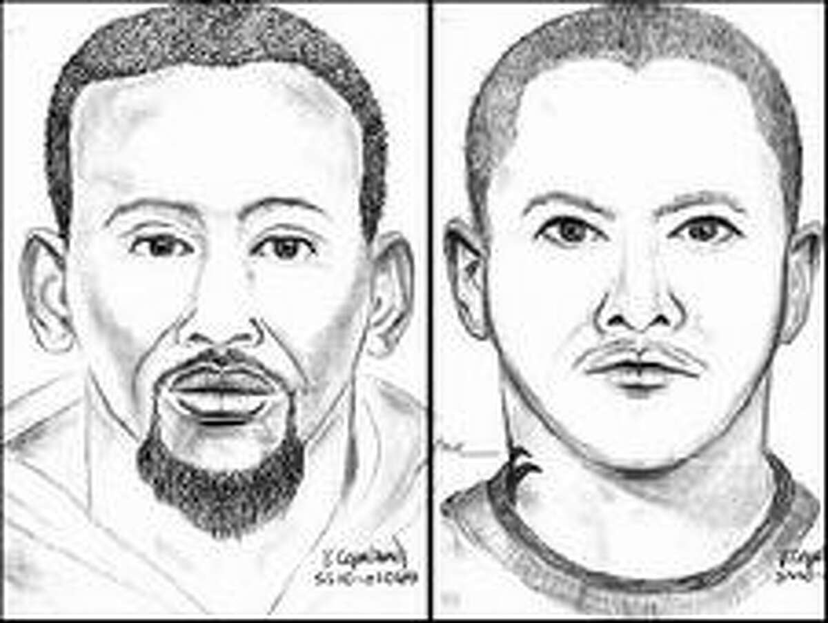 The man on the left was described as mixed race (Asian/African-American), 18 to 24 years old, 5 feet 10 inches tall, thin build, and had a tattoo on his neck. The man on the right was described as black, 18 to 24 years old, 5 feet 6 inches tall, with a goatee and a thin build.
