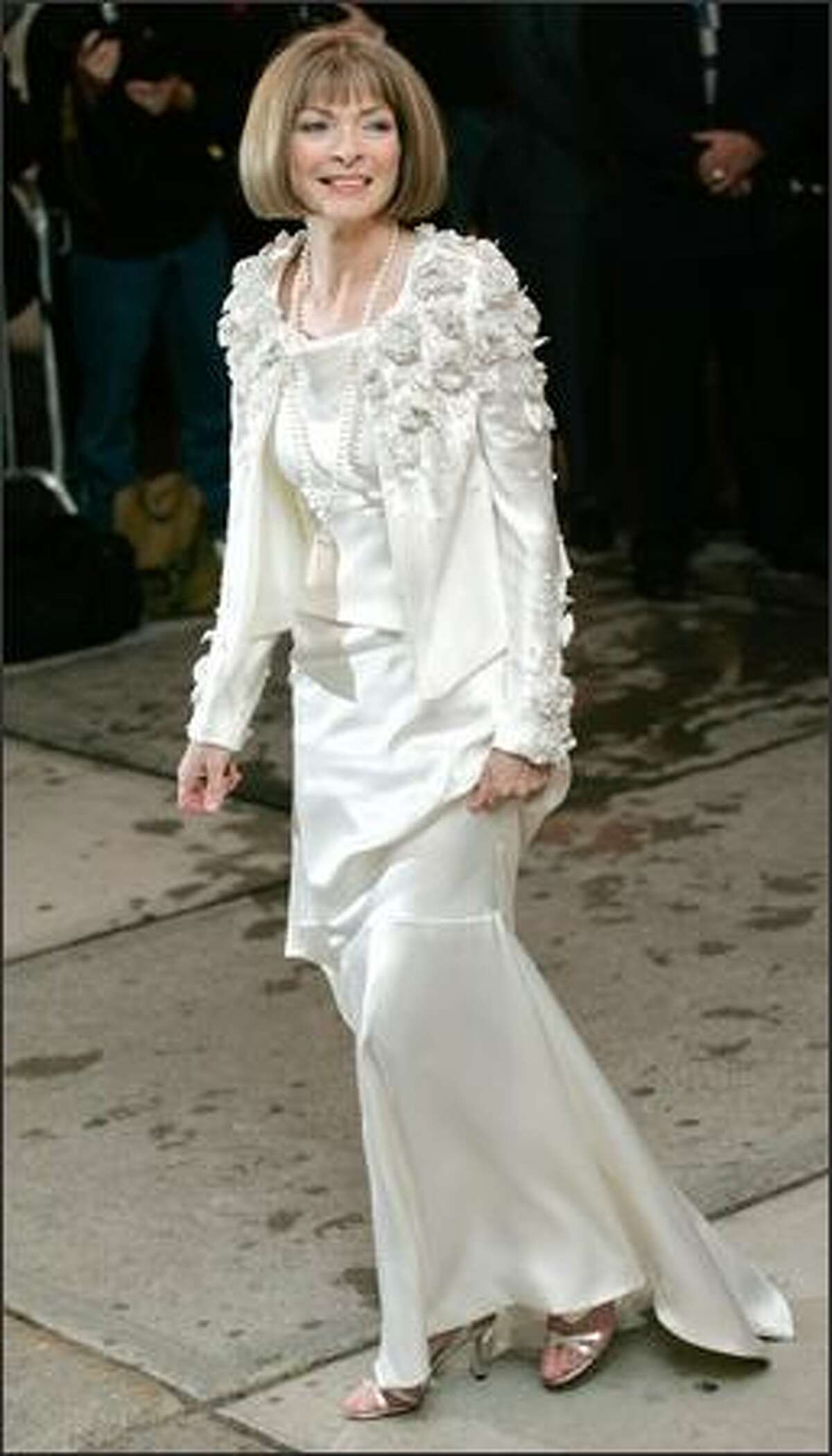 Anna Wintour arrives at the Costume Institute Gala held at the Metropolitan Museum of Art in New York. (AP Photo/Stuart Ramson)