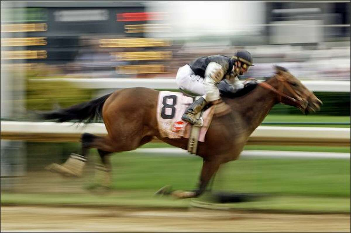 Calvin Borel rides Mine That Bird to victory in the 135th Kentucky Derby horse race at Churchill Downs in Louisville, Ky., Saturday, May 2, 2009. (AP Photo/Morry Gash)
