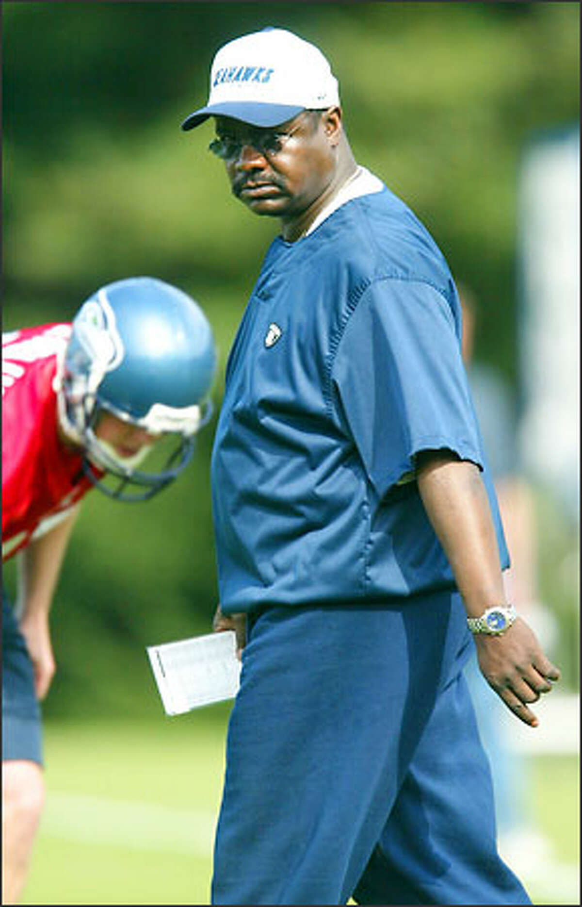 Seattle Seahawks' new defensive coordinator Ray Rhodes during his first mini-camp.