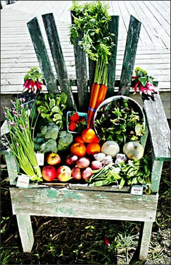A sampling of the produce Full Circle Farm provides to its community- supported agriculture, or CSA, customers, who get a box of organic goodies weekly. Photo: Paul Joseph Brown, Seattle Post-Intelligencer / Seattle Post-Intelligencer