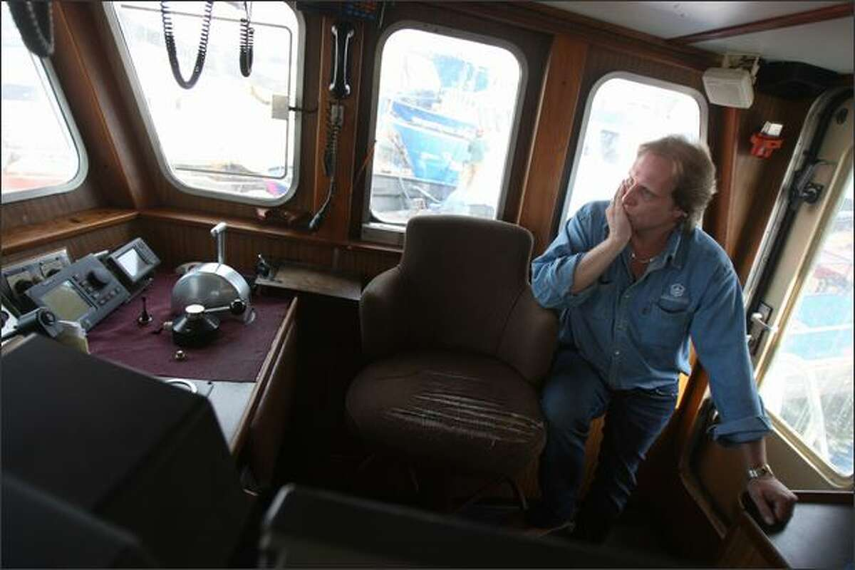 Captain of the Northwestern, Sig Hansen, 42, shown in the ship's wheelhouse, started fishing at 14.