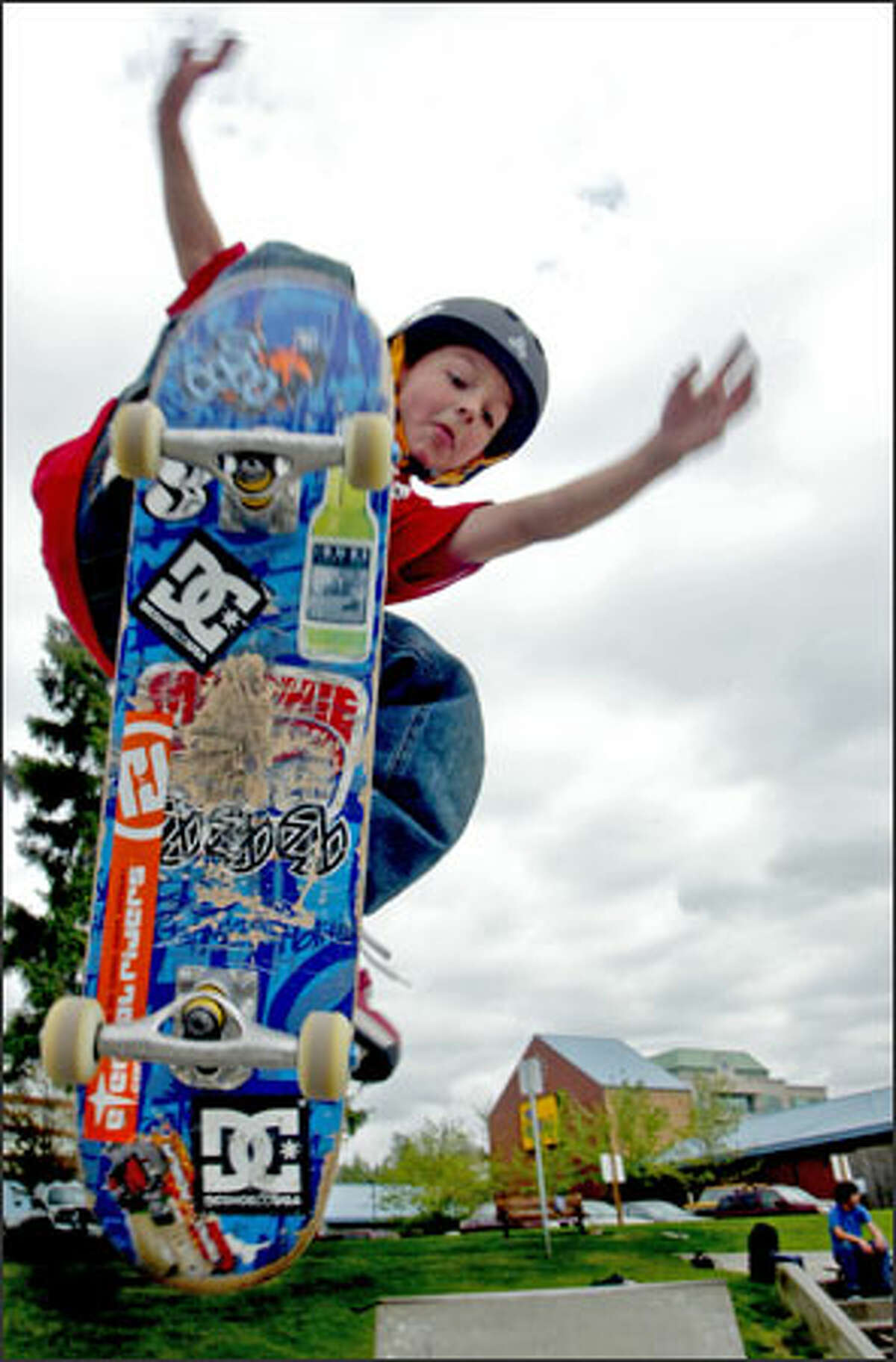 Mitchie Brusco, 8, practices his moves at the skateboard park in Kirkland. The first-grader, who's been skateboarding since he was 3, already has racked up sponsorships and media appearances. He says he doesn't know what drew him to skateboarding.
