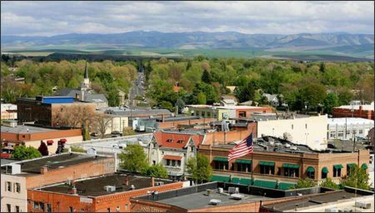 Downtown Walla Walla, shown from the rooftop of the recently renovated Marcus Whitman Hotel, is now home to a handful of new big-city-style restaurants.