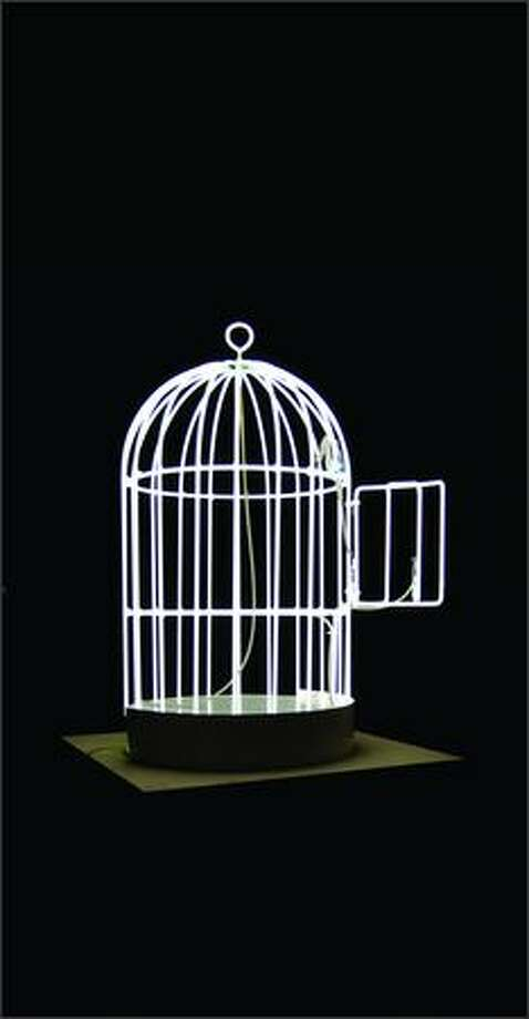 "Su-Mei Tse's ""Bird Cage,"" made from neon tubing with a lacquered wood pedestal, 2007."
