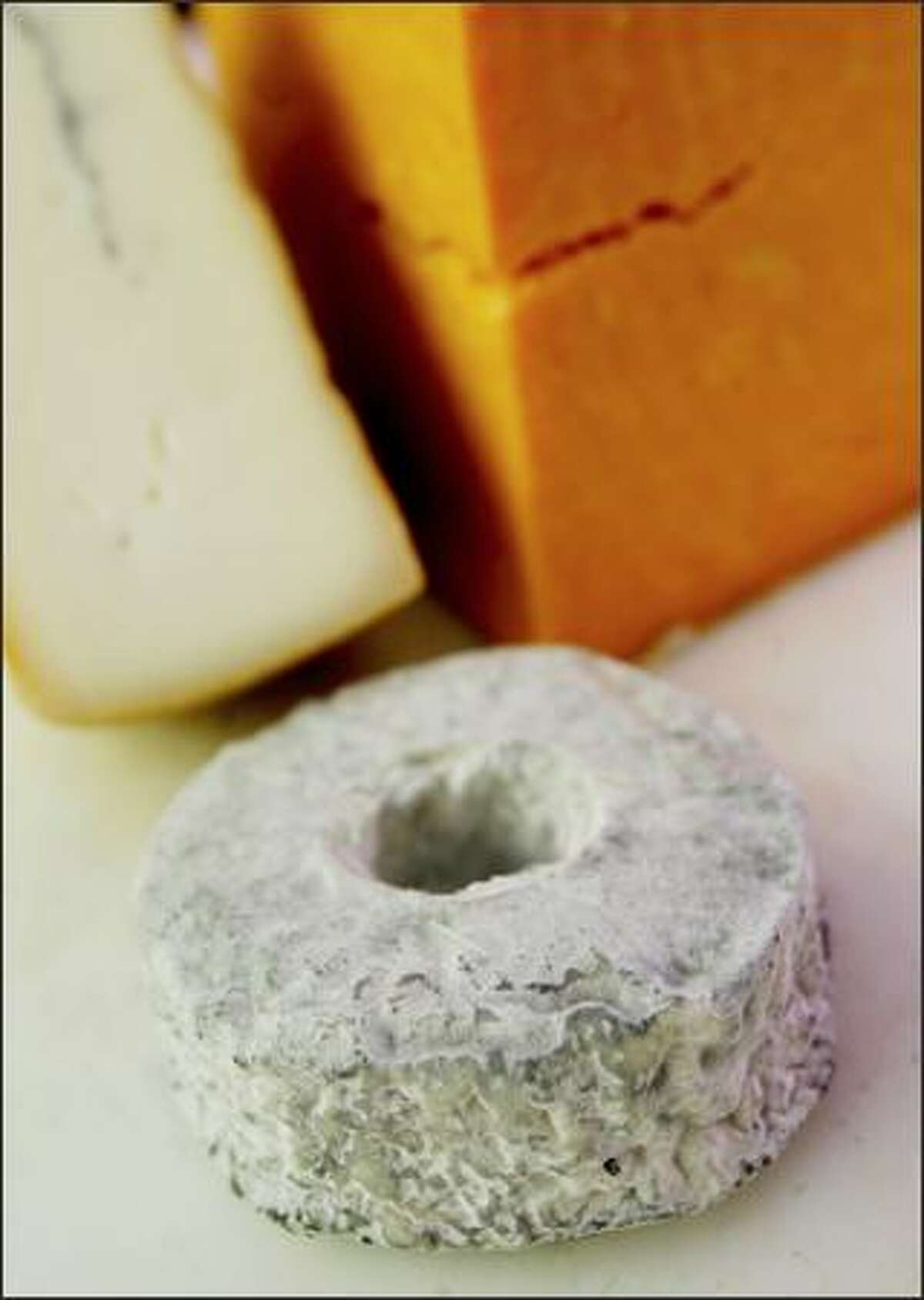 A wheel of Couronne Lochoise, a raw milk cheese from France's Loire Valley, at DeLaurenti.