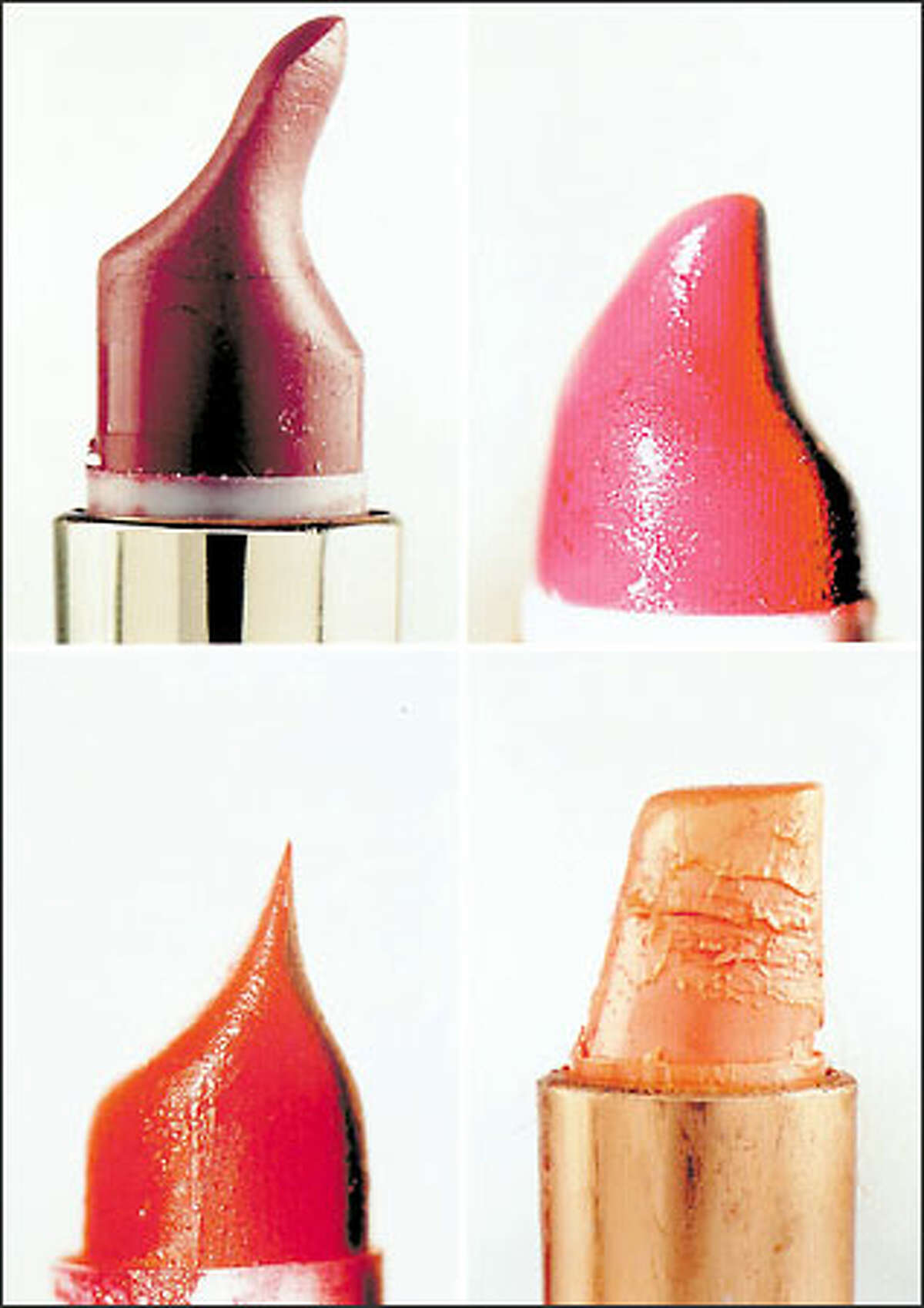 Stacy Greene's photos of lipsticks deformed in service to beauty are on view at ConWorks.