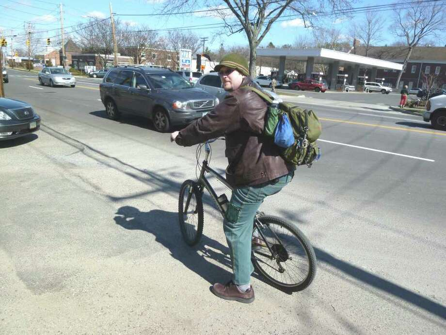 "Cyclist Jonah Burnim, 31, of Fairfield, said, ""Riding the roads is pretty much suicide and you get yelled at for riding on the sidewalks"" around Fairfield. Photo: Contributed Photo/Mike Lauterborn / Fairfield Citizen contributed"