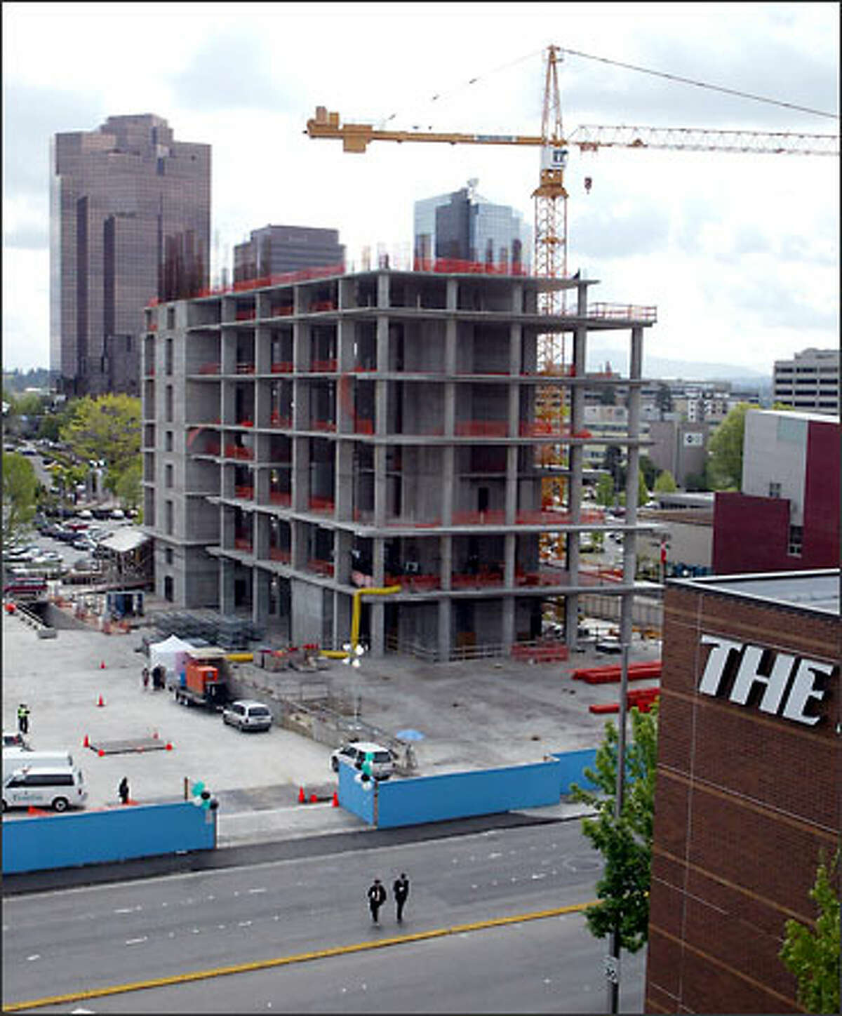 The building under construction in downtown Bellevue's Lincoln Square will be a hotel when finished by Kemper Development Co.