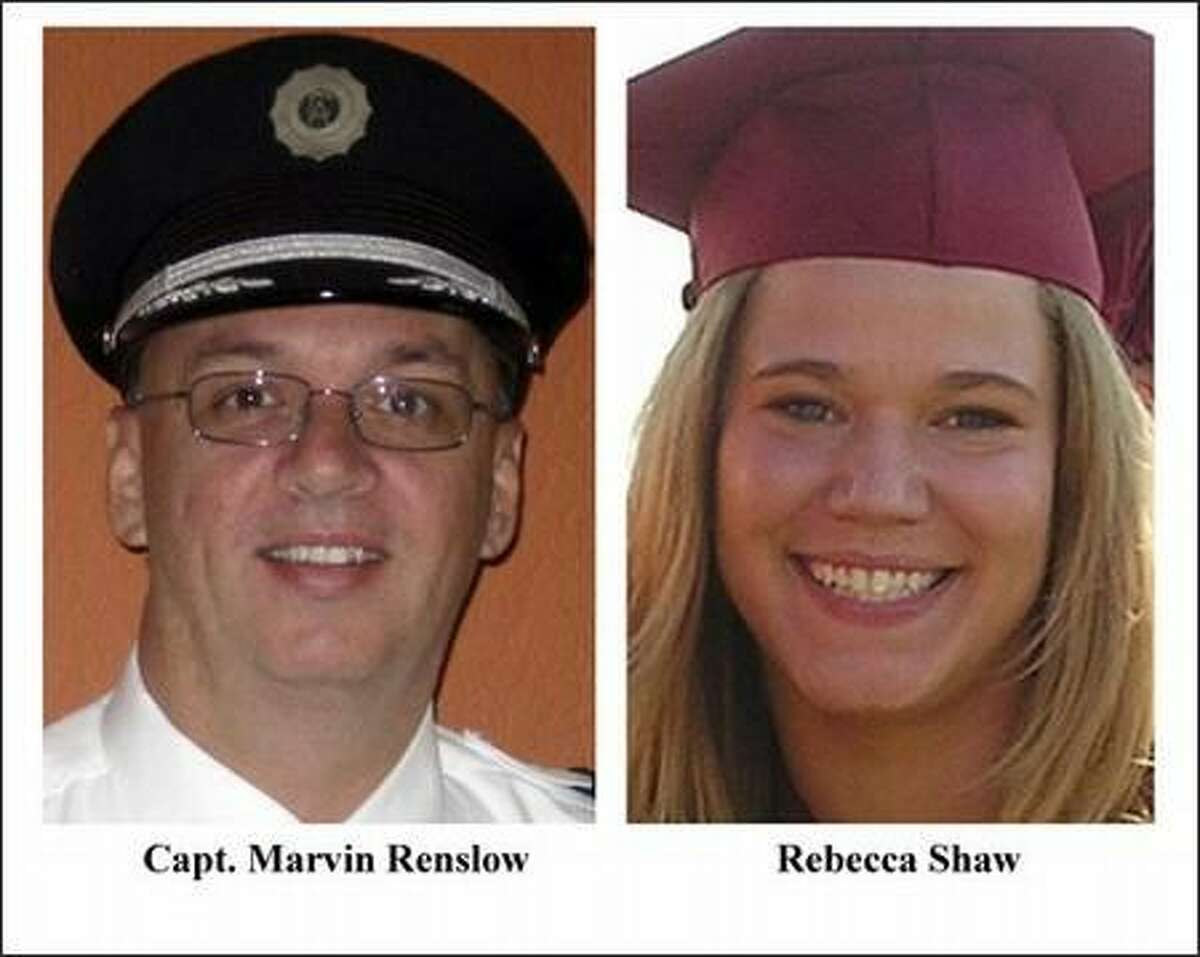 FILE - In this combo file photo, Capt. Marvin Renslow, left, and co-pilot Rebecca Shaw are shown. Renslow was piloting Continental Connection Flight 3407, and Shaw was the co-pilot bound from Newark, N.J., Feb. 12, 2009,on approach to Buffalo Niagara International Airport when it went down in light snow and mist and crashed into a house below. All 49 people aboard and one person on the ground were killed. A cockpit voice recorder transcript released Tuesday May 12, 2009, by the National Transportation Safety Board , recounts their final moments. (AP Photos/Courtesy Jason Peregrine/Central Washington University via the Seattle Times)