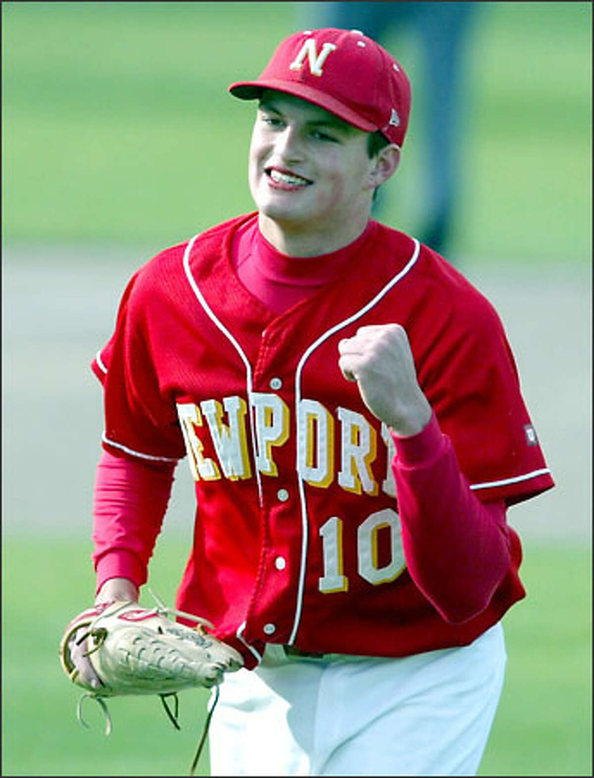 Newport pitcher Josh Scofield pumps his fist after recording the final out in the Knights' 5-4 victory of Liberty.