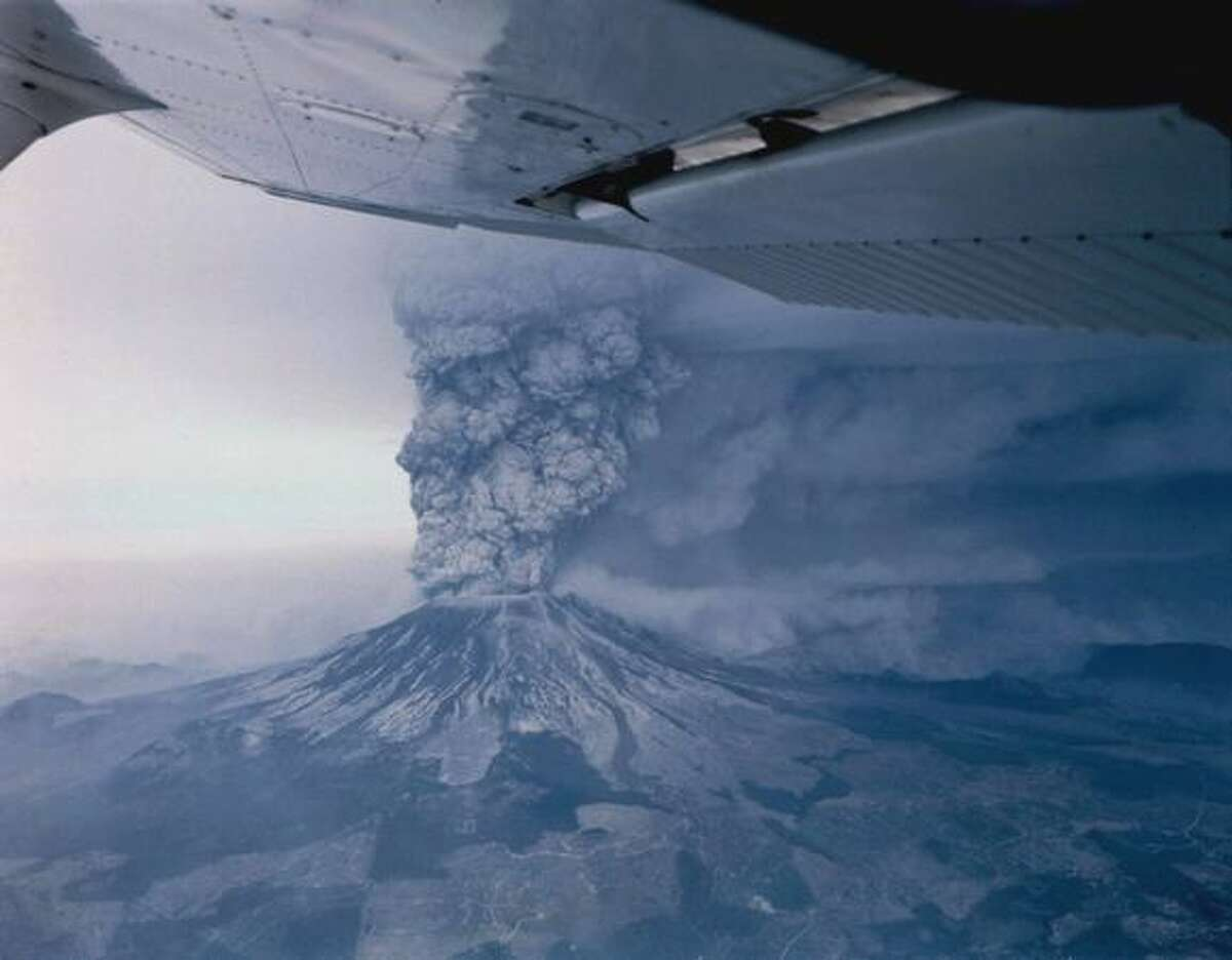 Mount St. Helens erupts on May 18, 1980.