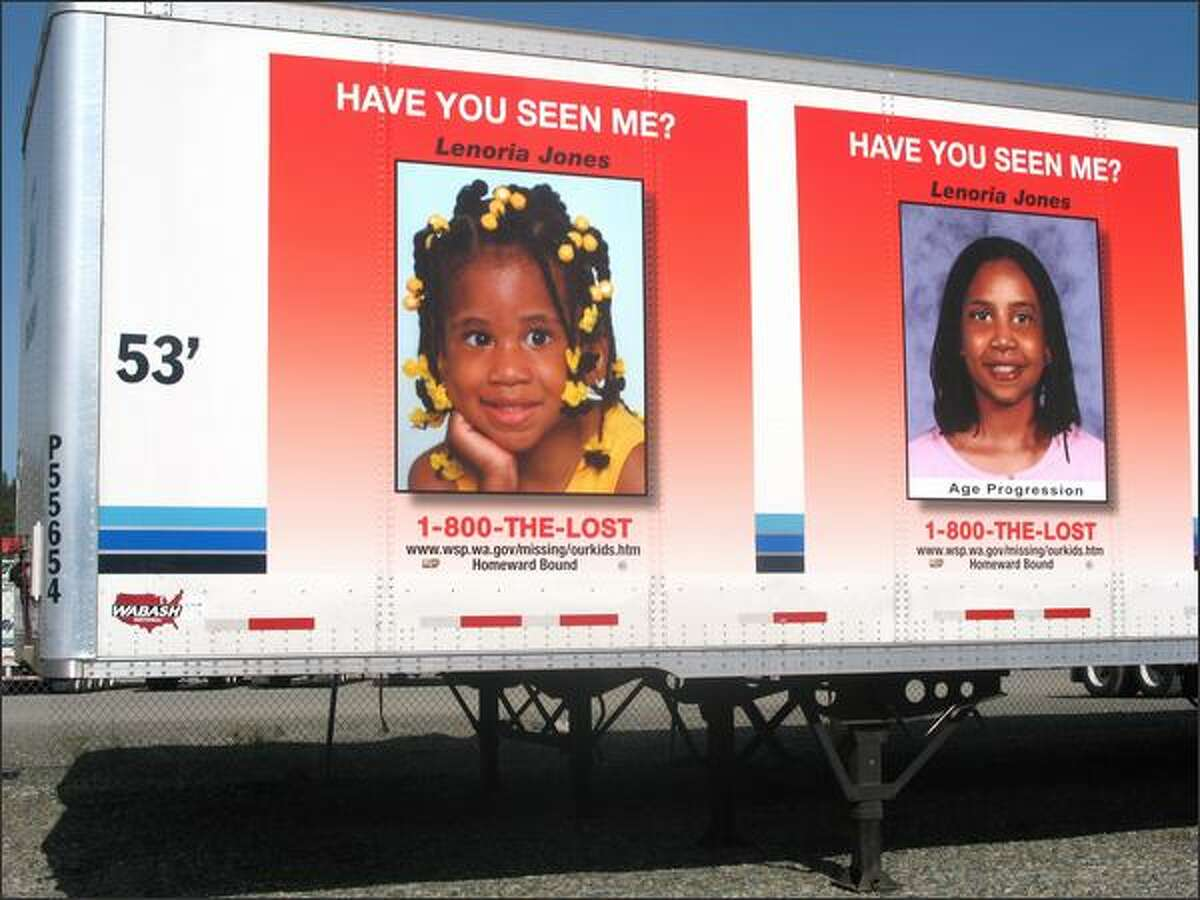The image of Lenoria Jones in 1995 appears on the side of this Gordon Trucking tractor trailer, alongside a computer-enhanced image of how the missing girl could look today.